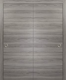 Sliding Closet Bypass Doors 48 x 80 | Planum 0010 Ginger Ash | Rails Wheels Floor Guide Pulls Hardware Set | Modern Wood Solid Doors