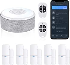 tolviviov Home Security Home Wireless، Smart Home DIY Alarm Security Systems، kit 8-Piece (WiFi Alarm Station and Door Window Sensor)، APP Alert، Work with Alexa، for House and Apartment