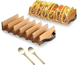 Trendy Together Wooden Taco Holder – Wooden Taco Tray Stand Up Rack Holds 6 Soft or Hard Shell Tacos – Great for Tortillas, Burritos, Home, Parties & Restaurants