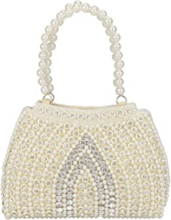 Suman's Enterprises Vintage Style Pearl Tote Bag Wrist Bag Evening Clutch Wedding Purse for Women & Girls …