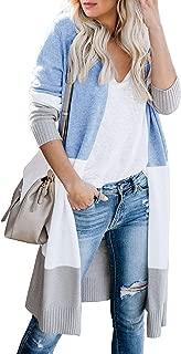 Yskkt Womens Boho Long Cardigans Plus Size Color Block Striped Loose Fall Knit Sweaters Duster Coats (4X, ABlue)