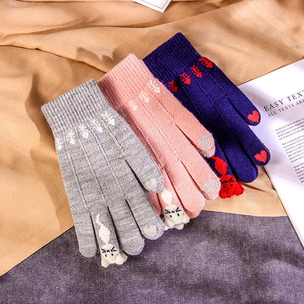 Maserfaliw Winter Gloves Women Cute Cartoon Cats Touch Screen Gloves Full Finger Knitted Mittens for Women Men Black