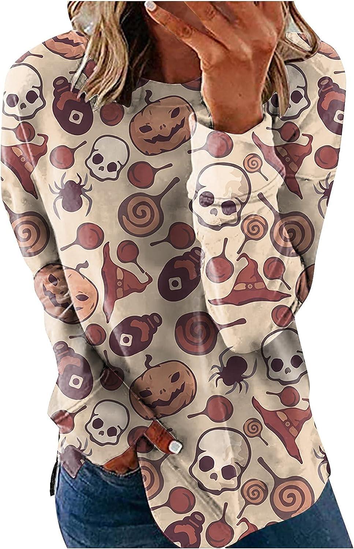 Women Halloween Crew Neck Sweatshirt Casual Long Sleeve Pumpkin Ghost Print Side Split Hoodies