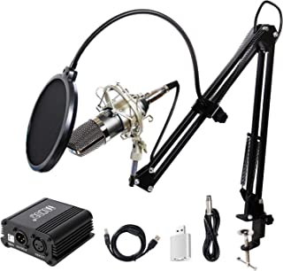 TONOR Pro Condenser Microphone XLR to 3.5mm Podcasting Studio Recording Condenser Microphone Kit Computer Mics with 48V Phantom Power Supply Black