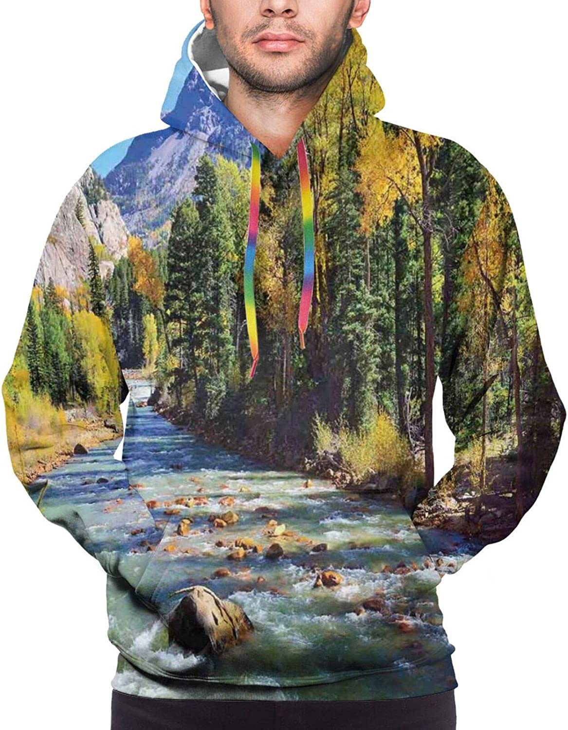 TENJONE Men's Hoodies Sweatshirts,Mountains Celtic Style Great Outdoors Symbol of Adventure and Camping