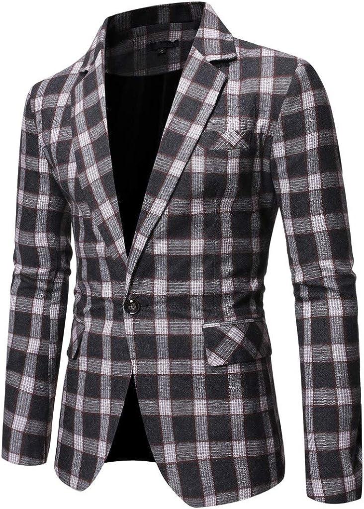 Men's Slim Fit Lapel Blazer Stylish Plaid Business Jacket Wedding Party Blouse Coat