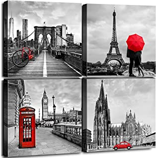 sunfrower London Canvas Paris Pictures Art Decor for Bathroom Black and White City Building Modern Office Artwork Architecture Decoration Set of 4 Panels 12inches × 12inches