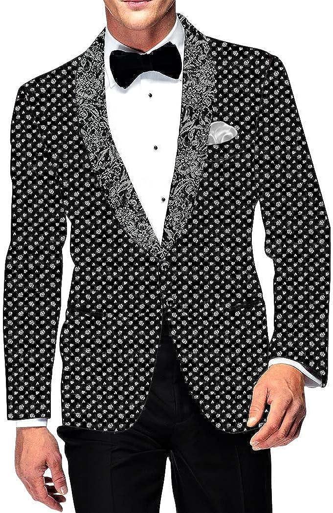 INMONARCH Mens Slim fit Casual Black Cotton Blazer Sport Jacket Coat White Design Print SB17027