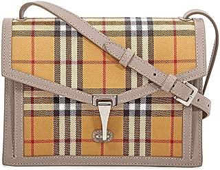 Taupe Brown Small Macken Vintage Check Leather Canvas Bag Handbag New