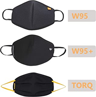 Wildcraft Reusable Outdoor Mask (Combo Pack of 3: W95, W95 Plus and Torq), Large Size, Black