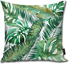 Monstera Banana Palm Leaf Throw Pillow Case Cushion Cover for Gift Home Couch for Bed Car Sofa Size:18X18inch