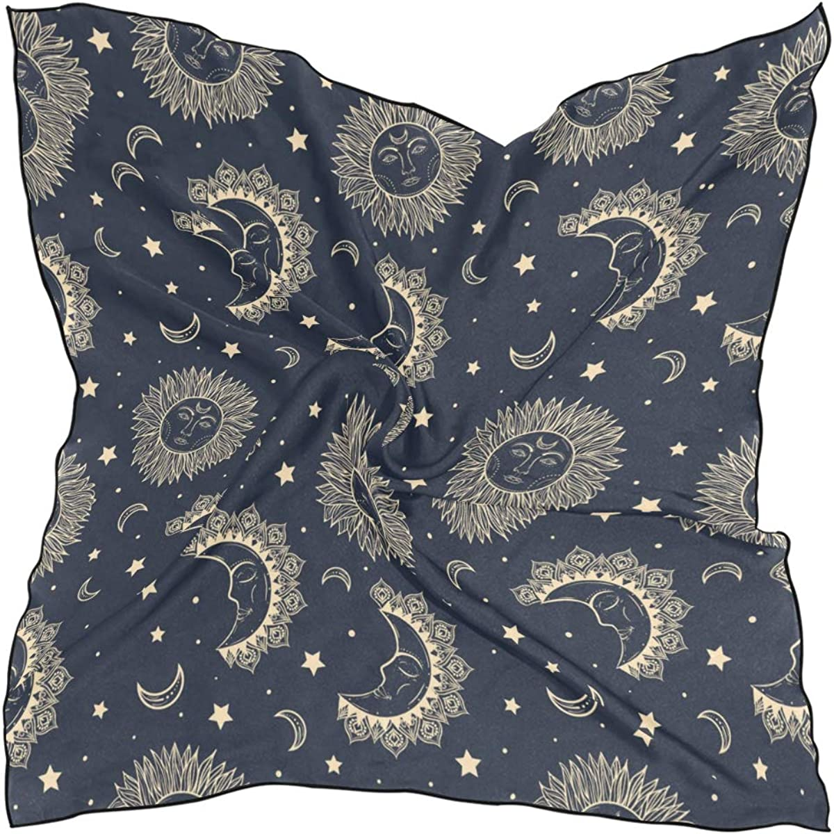 Women's Soft Polyester Silk Square Scarf Constellation Starry Sky Mysterious Fashion Print Head & Hair Scarf Neckerchief Accessory-23.6x23.6 Inch