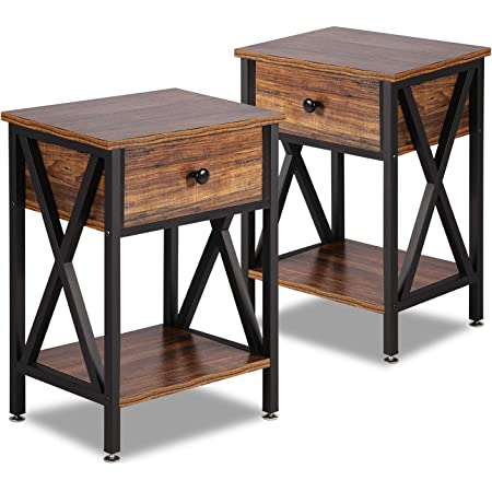 VECELO Modern Versatile Nightstands X-Design Side End Table Night Stand Storage Shelf with Bin Drawer for Living Room Bedroom, Set of 2 (Brown)