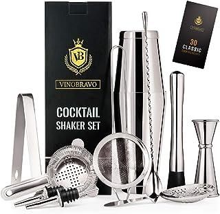 12-Piece Bartender Kit Boston Cocktail Shaker Bar Set by VinoBravo : 2 Weighted Shaker Tins, Strainer Set, Double Jigger, ...