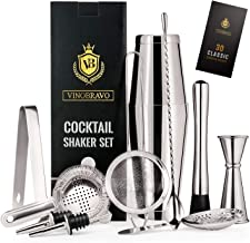 12-Piece Bartender Kit Boston Cocktail Shaker Bar Set by VinoBravo : 2 Weighted Shaker Tins, Strainer Set, Double Jigger, ...