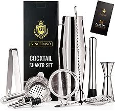 11-Piece Bartender Kit Boston Cocktail Shaker Bar Set by VinoBravo : 2 Weighted Shaker Tins, Strainer Set, Double Jigger, Bar Spoon, Ice Muddler & Tong, 2 Liquor Pourers & Recipe Guide(Siver)