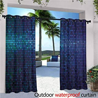 Jktown Abstract Outdoor Blackout Curtains Disco Backdrop with Gradient Fractal Mosaic Little Squares Print Energy Efficient, Room Darkening 120x84 INCH,Indigo Navy Blue Teal Purple