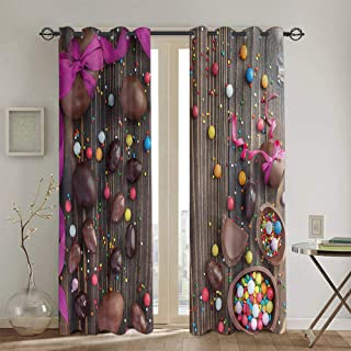 Easter Heat Insulation Curtains Christmas Decoration Chocolate Eggs Candy Rustic W63 xL45