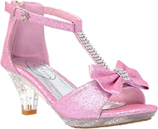 Generation Y Kids Dress Sandals T-Strap Rhinestone Glitter Clear High Heel Girls Shoes