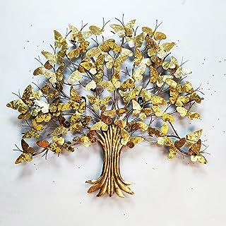"""Wembley Metal Wall Art 36""""x 33"""" Elegant Golden Butterflies Tree 3D Metallic Finish Décor Wall Art Moden Design Panel Home ..."""