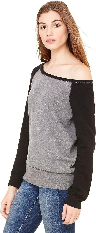 Bella + Canvas Womens Sponge Fleece Wide Neck Sweatshirt (7501) DP HEATHER/BLACK