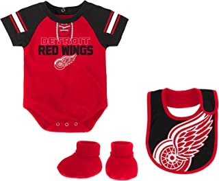 Outerstuff NHL Detroit Red Wings Newborn & Infant Little D-Man Onesie, Bib & Bootie Set, 18 Months, Red