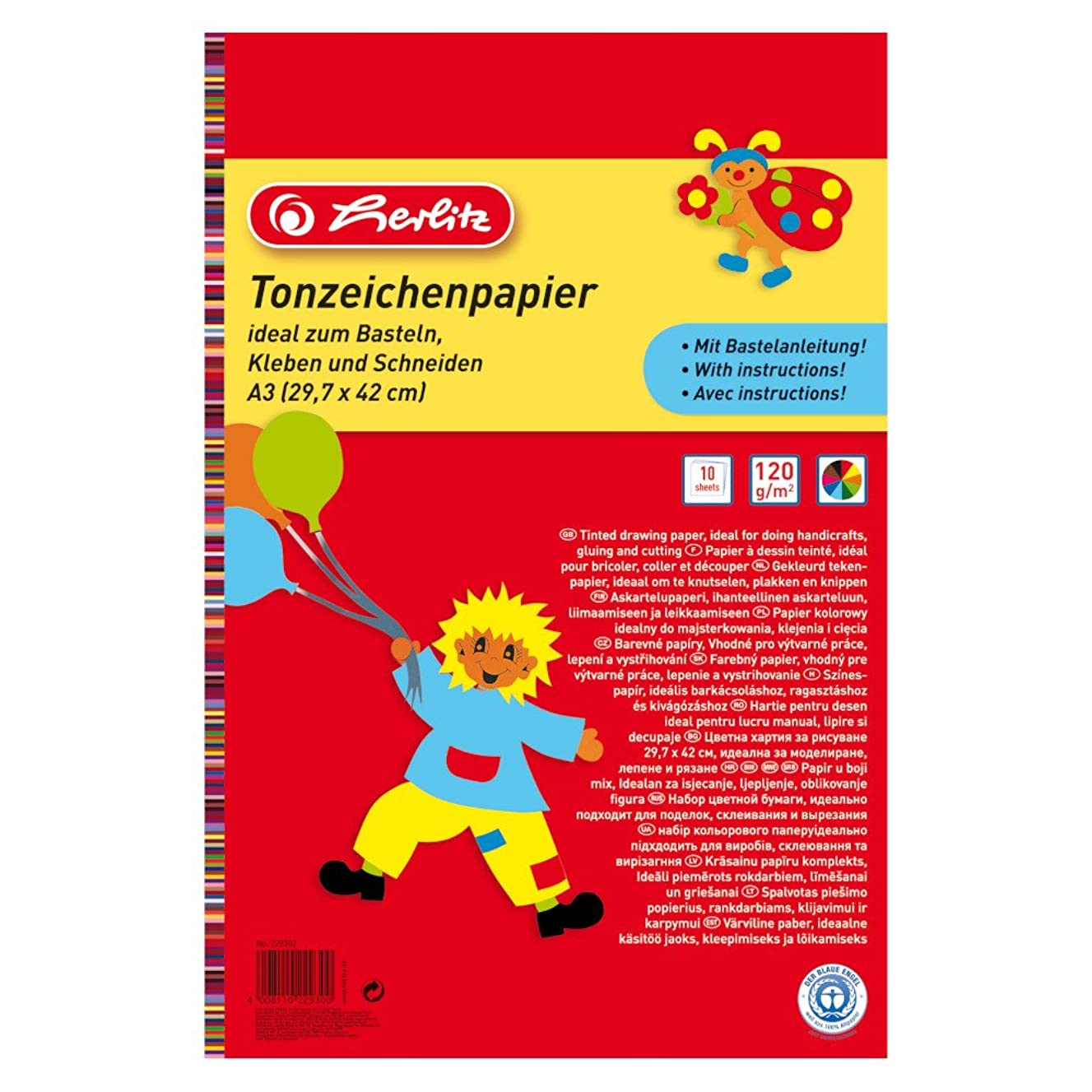 Herlitz A3 Coloured Drawing Paper Pad - 10?Sheets 229302