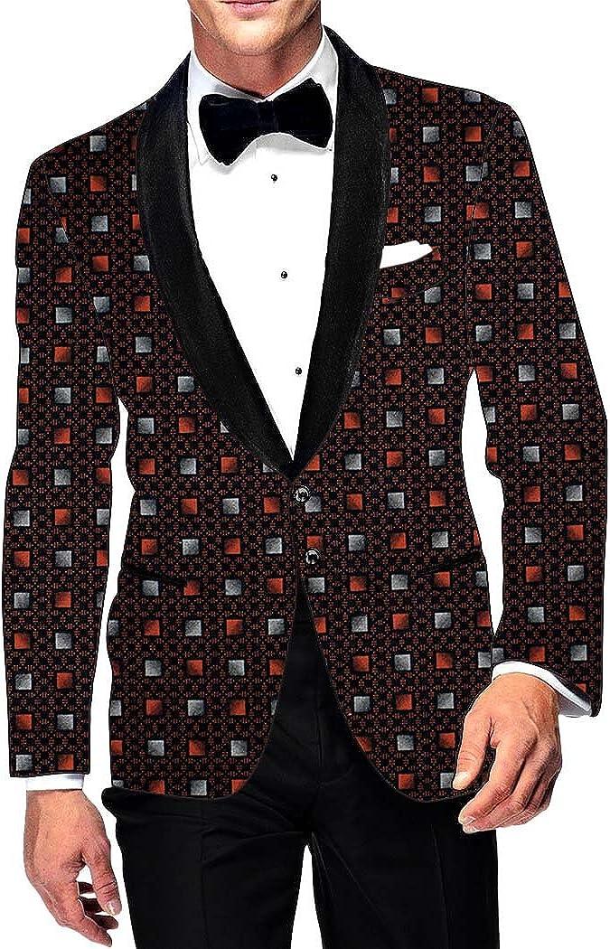 INMONARCH Mens Slim fit Casual Wine Cotton Blazer Sport Jacket Coat Box Print SB101