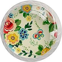 Ladeknoppen Ronde Kristal Glazen Kabinet Handgrepen Pull 4 Pcs,Tropische Hawaiiaanse Bloemen