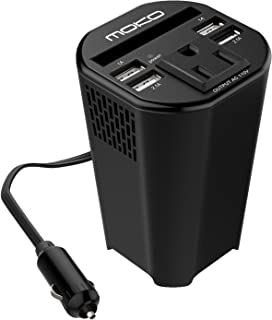 MoKo 150W Car Power Inverter, DC 12V to 110V AC Outlet Cup Holder Converter Adapter, with 4 USB Port Charger, for iPhone X / 8/8 Plus, MacBook, iPad Pro, Chromebook, Galaxy S8 and etc. (Black)