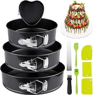 OMEW Lot de 4 Moule à Gâteau 10 pcs Moule à Charnière Réglable Non-Stick Moule de Gâteau Rond et Cœur Diamètre 4 Étages Ac...