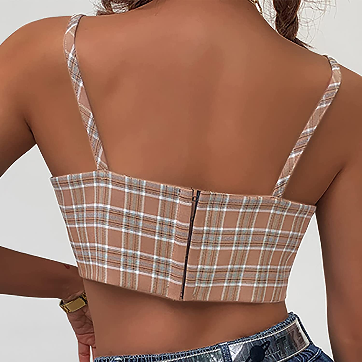 Fashion Women's Summer Casual Personalized Plaid Printing Tops Sling Vest Retro Small Love Suspenders Summer Short smal