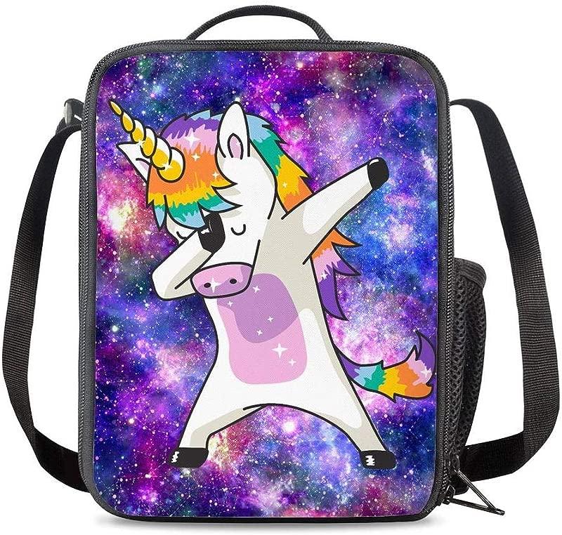 PrelerDIY Galaxy Unicorn Lunch Bag Tote Lunch Box Food Bag For Boys Girls With Zipper Side Pocket Shoulder Strap