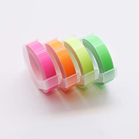 MoTEX Refill Tape for Embossing Label Maker, Fluorescent Color Tapes 4 Rolls, 3/8-Inch (Pink, Orange, Yellow, Green)