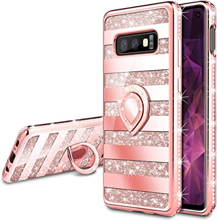 VEGO Galaxy S10e Case,Galaxy S10e Glitter Case with Ring Holder Kickstand for Women Girls Bling Diamond Rhinestone Sparkly Fashion Shiny Cute Protective Case for Galaxy S10e(Stripe Rose Gold)