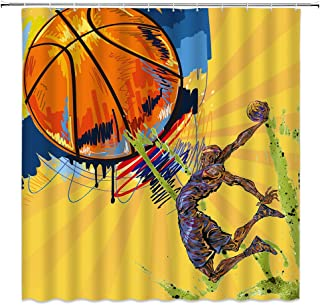 BCNEW Basketball Shower Curtain Hand Drawn Colorful Creative Abstract Basketball and Athlete Poster Polyester Fabric Bathroom Decor 70�70 Inch with Hook Hole