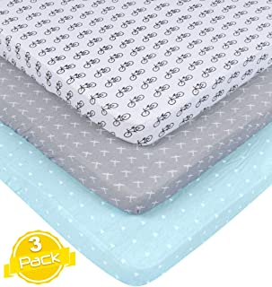 Pack n Play Playard Sheet Set   3 Pack   100% Super Soft Jersey Knit Cotton (150 GSM)   Portable Mini Crib Mattress Fitted Sheets for Boys & Girls by BaeBae Goods
