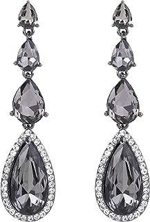 Women's Elegant Wedding Bridal Multi Teardrop Long Chandelier Dangle Pierced Earrings