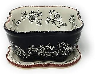 Temp-tations Baking Dish/Baker/Casserole Dish 1.5 Qt w/Lid-It (Trivet), and Plastic Cover (Floral Lace Black)