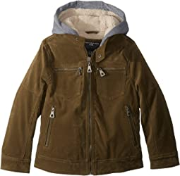 Alexander PU Suede Moto Jacket Sherpa Lined Fleece Hood (Little Kids/Big Kids)