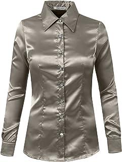 26a97f22 YOKO SHOP Womens Light Weight Long Cuff Sleeve Button Down Satin Shirt