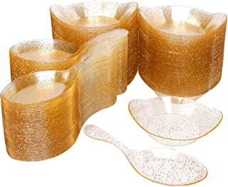 WDF 100Pack Gold Glitter Tasting Spoons-100Pack Plastic Mini Dessert Plates -Small Plates for Parties &Wedding