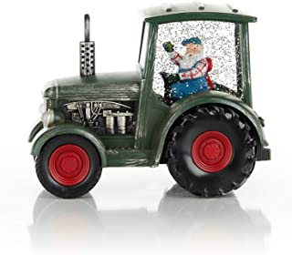 ReLive Christmas Light-Up Snow Globe - Green Tractor - 8 x 6.5 Inches