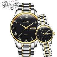 Couple Watches Luminous Calendar Date Window Waterproof Business Casual Wristwatch for Men Women,...
