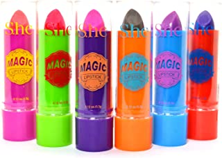 Lot Of 6 Color Changing Magic Scented Lipstick Lip Balm Stick with Aloe Vera + ZipBag