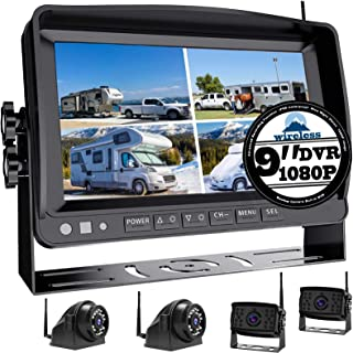 """1080P Wireless Backup Camera with 9"""" Large DVR Monitor for RV semi Box Truck Trailer Rear and Side View System Quad HD Cam..."""