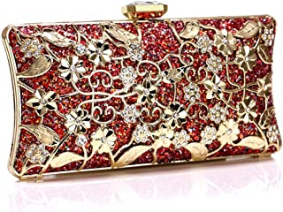 Women Evening Handbags Clutches Purse for Party Bridal Tote Bags Birthday Gift for her,red,5 * 9.5 * 19cm