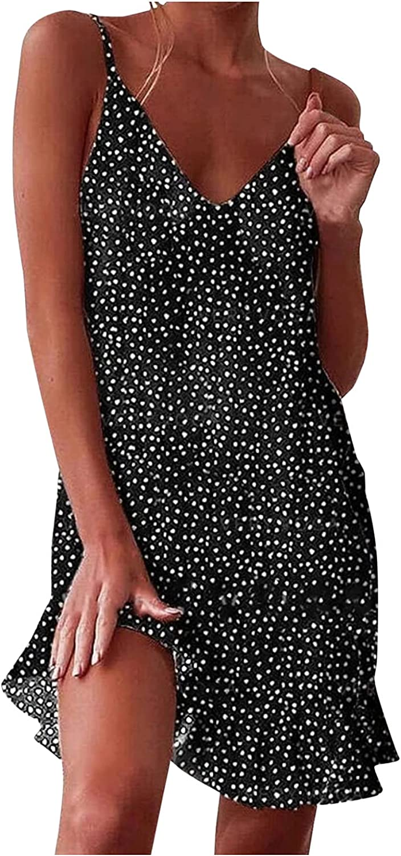 BEUU Women's Summer Polka Dot Print Ruffled Mini Floral Dress V-Neck A Line Short Sleeve/Sleeveless Casual Sundress