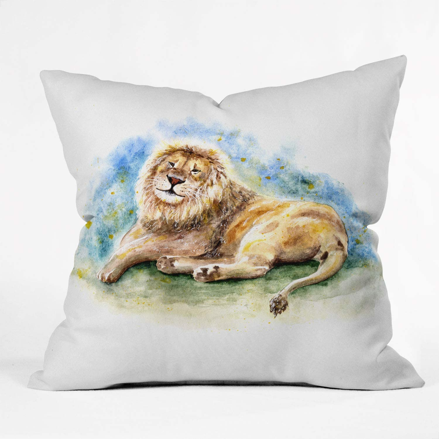 Amazon Com Society6 Anna Shell Lazy Lion Throw Pillow 20 X20 Home Kitchen