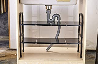 Facilidad casa debajo del fregadero estante extensible de almacenamiento Rack de acero inoxidable ajustable cocina organizador 2 estantes negro
